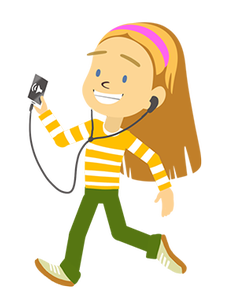 Laura with headphones and cell phone